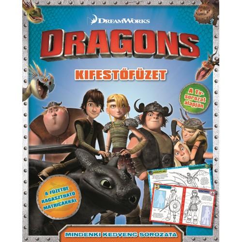 DWA Dragons - kifestőfüzet matricákkal