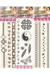 Hat különböző fémesen csillogó tetoválás matrica egy csomagban