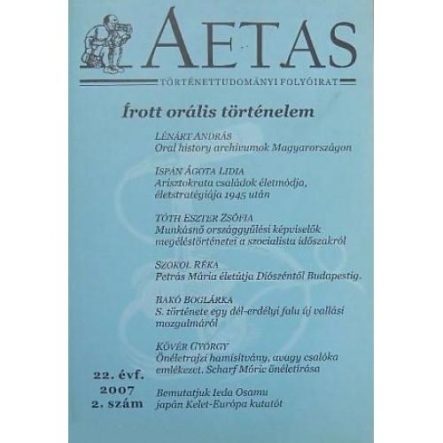 Aetas Történettudományi folyóirat 2007/2