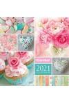 Virág, textil családi naptár - 37256 (nagy) 2021